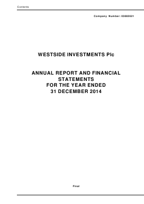 Ultimate Sports Group (Westside Investments Plc) annual report 2014
