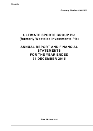Ultimate Sports Group (Westside Investments Plc) annual report 2015