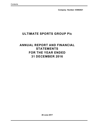 Ultimate Sports Group (Westside Investments Plc) annual report 2016