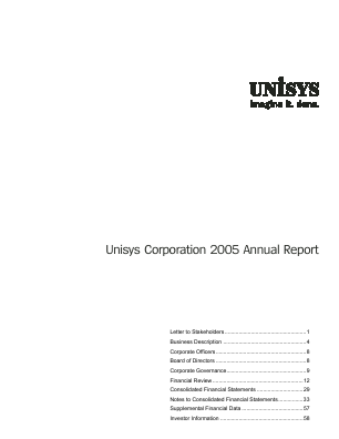 Unisys Corp annual report 2005