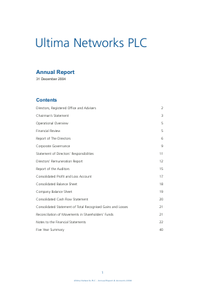 Onzima Ventures PLC (formally Ultima Networks) annual report 2004
