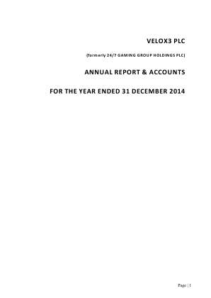 Veltyco Group (previously Velox3) annual report 2014