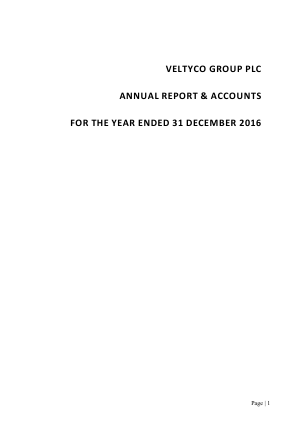 Veltyco annual report 2016