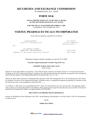 Vertex Pharmaceuticals Incorporated annual report 2000