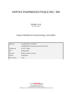 Vertex Pharmaceuticals Incorporated annual report 2005