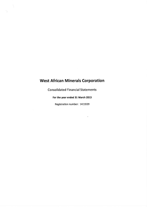 West African Minerals Corp annual report 2013