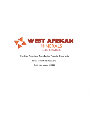 West African Minerals Corp annual report 2015