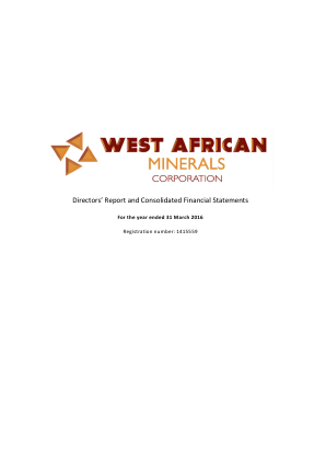 West African Minerals Corp annual report 2016
