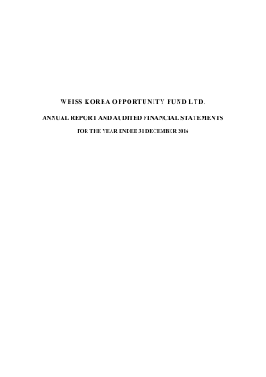 Weiss Korea Opportunity Fund annual report 2016