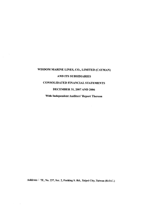Wisdom Marine Lines Co Limited annual report 2007