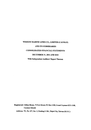 Wisdom Marine Lines Co Limited annual report 2011