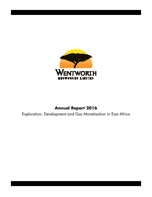 Wentworth Resources annual report 2016