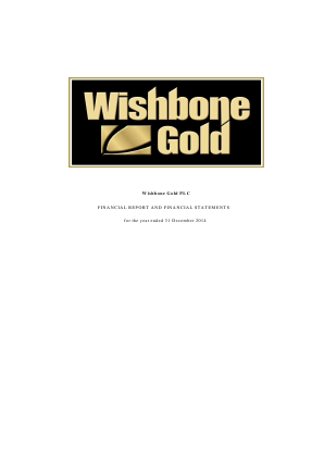 Wishbone Gold Plc annual report 2014