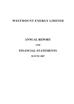 Westmount Energy annual report 2007