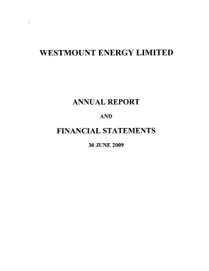 Westmount Energy annual report 2009