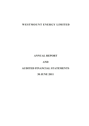 Westmount Energy annual report 2011