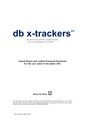 DB X-Trackers annual report 2012