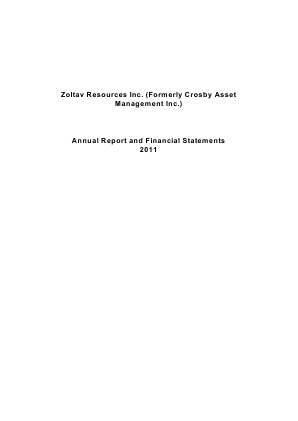 Zoltav Resources Inc annual report 2011